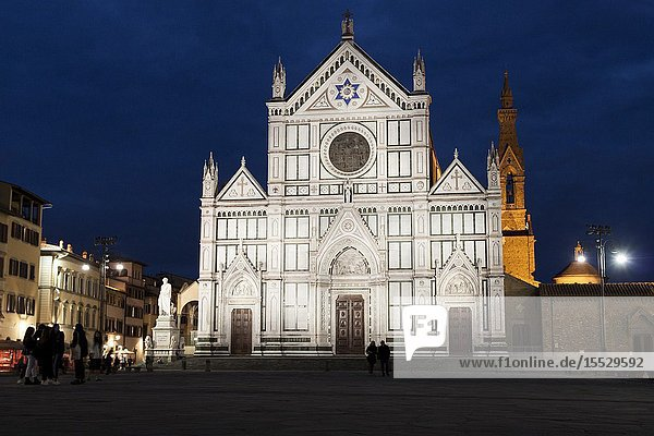 Stormy sunset at the Basilica Santa Croce. Florence  Tuscany. Italy.