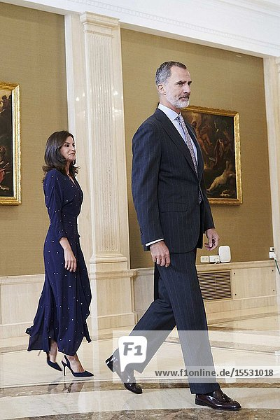 King Felipe VI of Spain  Queen Letizia of Spain attends Audience to a delegation of the Spanish Committee of Representatives of Persons with Disabilities (CERMI) at Zarzuela Palace on September 3  2019 in Madrid  Spain