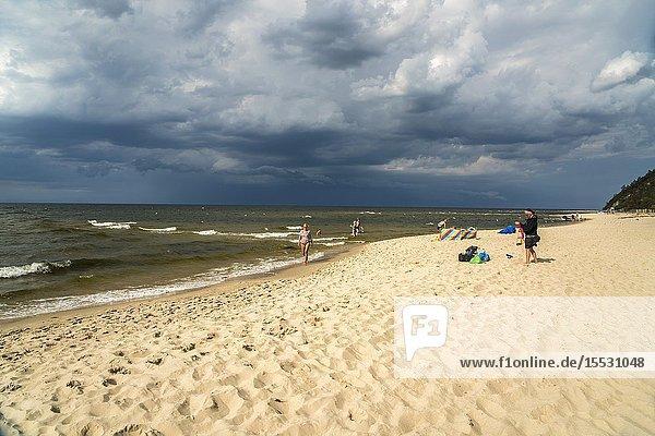 The baltic beach in Miedzyzdroje  Wolin Island  West Pomeranian  Poland  Europe.