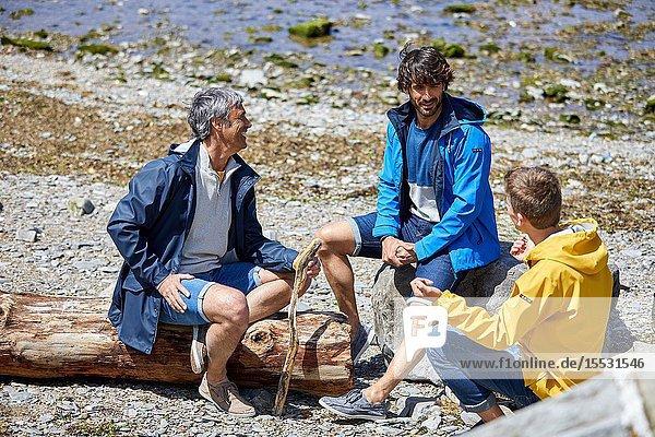 Men by the sea  Route de La Corniche  Cantabrian Sea Coast  Hendaye  Aquitaine  Basque Country  France