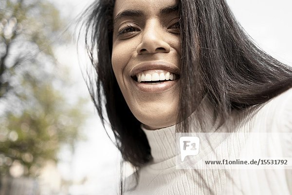 Close up portrait of a Brazilian woman  Munich  Germany