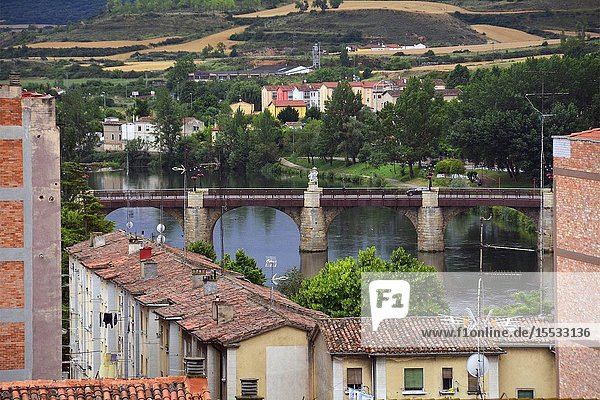 Miranda de Ebro view for Ebro river  historic part of the city and historic bridge of Carlos III  Burgos province  Castile and León  on the border with the province of Álava and the autonomous community of La Rioja  Spain  Europe