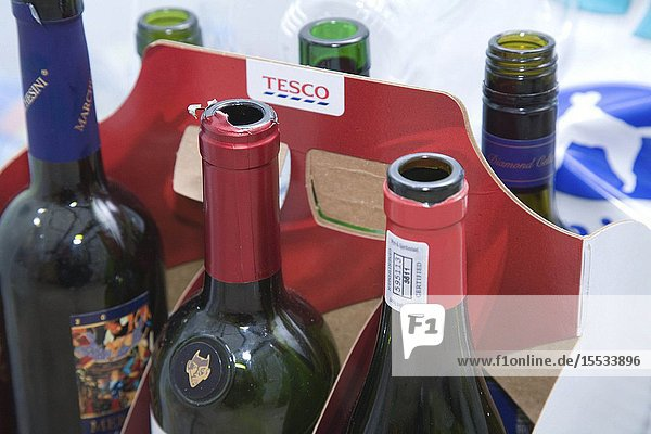 Carton of wine bottles for recycling