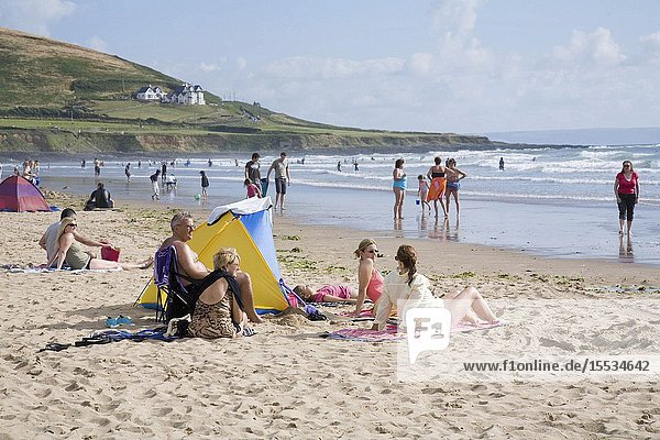 Families on the beach