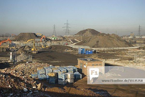 Demolition  Olympic Site  Stratford  East London 2007 UK.