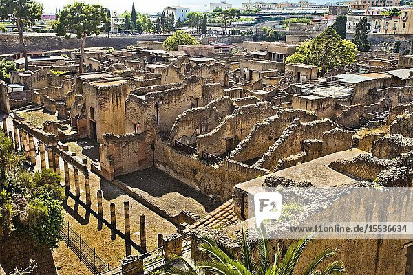 Ruins of Herculaneum  which was an ancient Roman town destroyed by volcan Mount Vesuvius  Ercolano  comune of Ercolano  Campania  Italy  Europe.