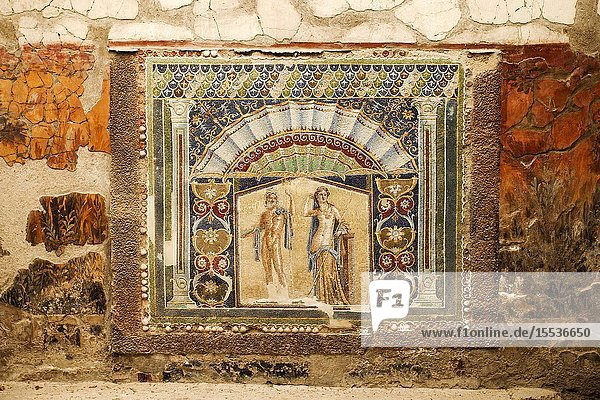 House of the Neptune Mosaic  Neptune and Salacia  wall mosaic in House Number 22  excavations of Herculaneum  was an ancient Roman town destroyed by volcan Mount Vesuvius  Ercolano  comune of Ercolano  Campania  Italy  Europe.