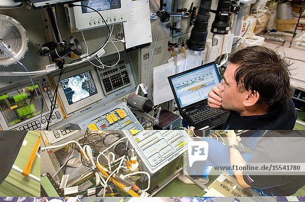 In the Zvezda Service Module  Russian cosmonaut Yuri Malenchenko  Expedition 33 flight engineer  monitors the rendezvous and docking of the Soyuz TMA-06M spacecraft  bringing NASA astronaut Kevin Ford  Russian cosmonauts Oleg Novitskiy and Evgeny Tarelkin to the space station.