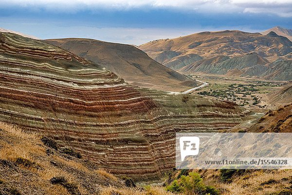 Candy Cane Mountains  Khizi District  Azerbaijan.The mountains' colours are produced by groundwater that have altered the oxidation state of the iron compounds in the earth.