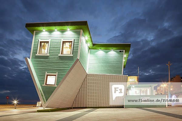 Evening at Upside Down House on Brighton seafront  East Sussex  England.