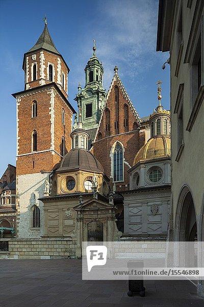 Morning at Wawel Royal Castle in Krakow  Poland.