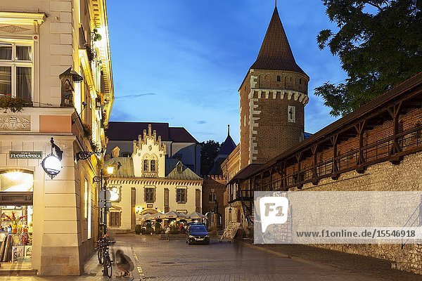 Evening at Krakow city walls  Poland.