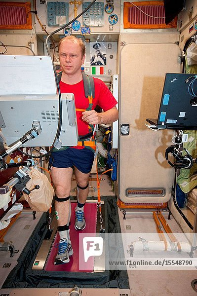 Russian cosmonaut Oleg Kotov  Expedition 37 flight engineer  equipped with a bungee harness  exercises on the Treadmill Vibration Isolation System (TVIS) in the Zvezda Service Module of the International Space Station.