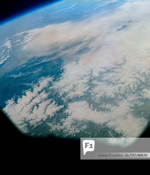 Photograph taken of the eastern Himalayas  Tibet  China  India and Burma from the Mercury-Atlas 9 capsule taken by astronaut L. Gordon Cooper Jr.  during his 22-orbit Mercury-Atlas 9 (MA-9) spaceflight.