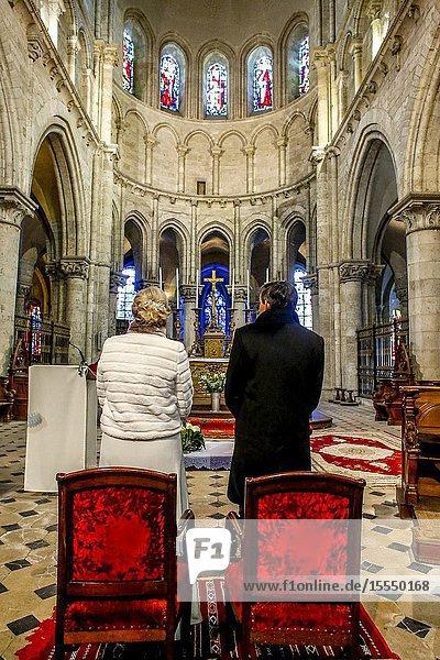Wedding in St Nicolas's catholic church  Blois  France.