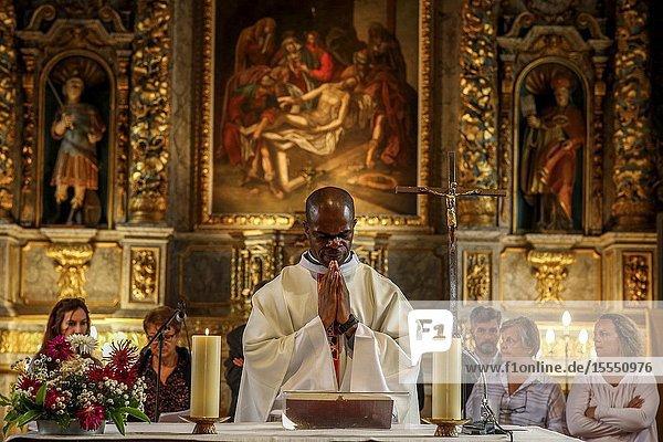 Assumption mass in La Ferriere sur Risle catholic church  Eure  France.