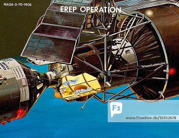 An artist's concept of two crew members busily engaged with the Earth Resources Experiment Package (EREP) in the Multiple Docking Adapter of the Earth-orbiting Skylab cluster.