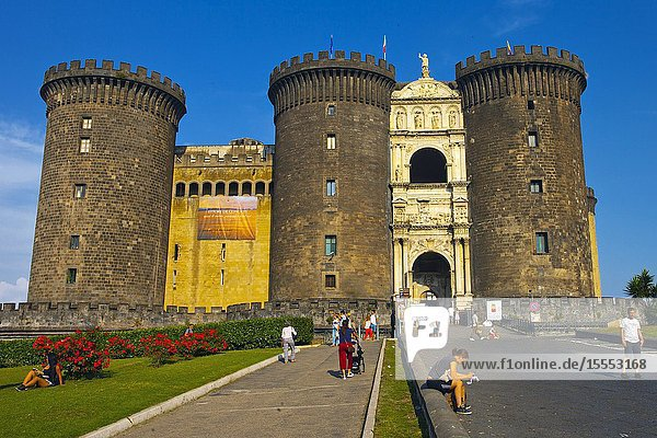 Castel Nuovo  New Castle  often called Maschio Angioino  Naples  Campania  Italy  Europe.