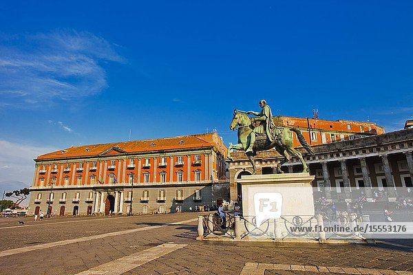 Piazza del Plebiscito square  monument to Charles VII of Naples  later Charles III of Spain  Naples city  Campania  Italy  Europe.
