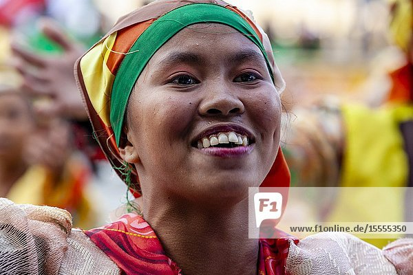 A Smiling Kasadyahan Dancer Performs At The Dinagyang Festival  Iloilo  Panay Island  The Philippines.