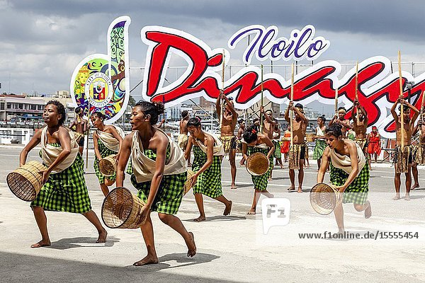 Tribal Dancing  Dinagyang Festival  Iloilo City  Panay Island  The Philippines.