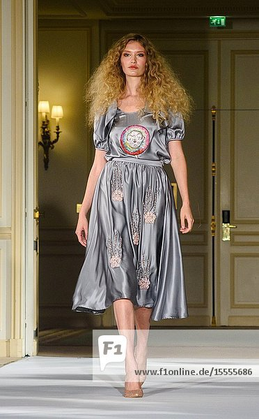 PARIS  FRANCE - SEPTEMBER 28: A model walks the runway during the Alianna Liu Womenswear Spring/Summer 2020 show as part of Paris Fashion Week on September 28  2019 in Paris  France. (Photo by Ahmed Hadjouti)