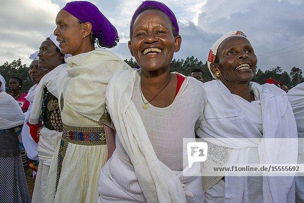 Dorze women singing Chencha market. Southern Ethiopia.