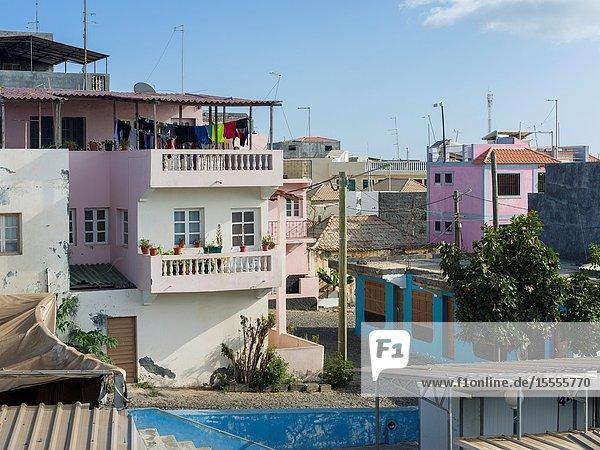 Modern residential area. Sao Filipe  the capital of the island. Fogo Island (Ilha do Fogo)  part of Cape Verde in the central atlantic.