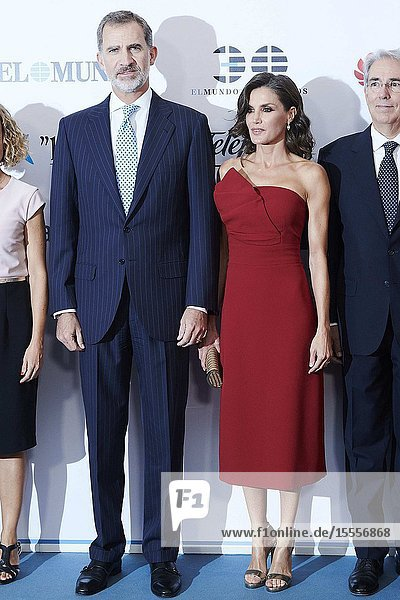 King Felipe VI of Spain  Queen Letizia of Spain attend the Commemoration of the 30th anniversary of 'El Mundo' newspaper at Palace Hotel on October 1  2019 in Madrid  Spain