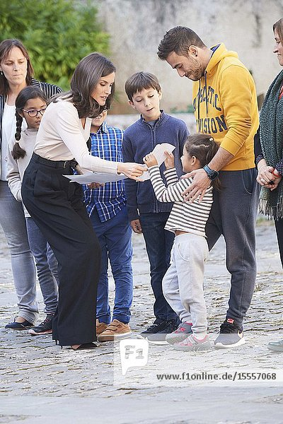 Queen Letizia of Spain attends the Opening of the 14th International Seminar on Language and Journalism 'Spanish and machines: Language  ethics and Journalism' at Monastery of Yuso on October 3  2019 in San Millan de la Cogolla  Spain