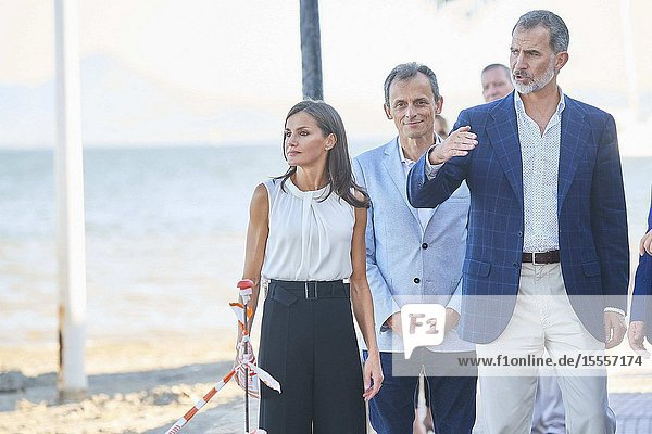 King Felipe VI of Spain  Queen Letizia of Spain visit Los Alcazares (Murcia) after the September floods on October 4  2019  Spain