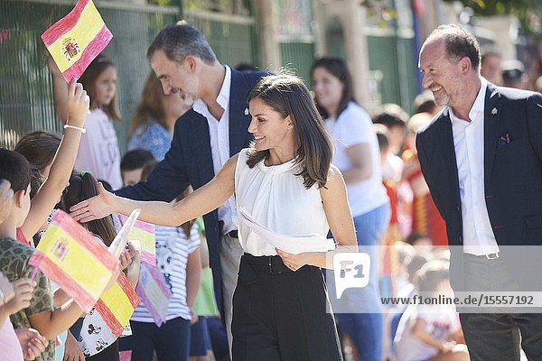 King Felipe VI of Spain  Queen Letizia of Spain visit Orihuela (Alicante) after the September floods on October 5  2019  Spain