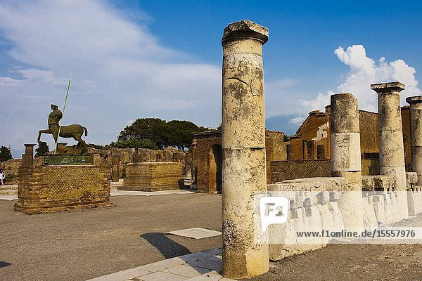 The Forum  Centaur statue  Excavations of Pompeii  was an ancient Roman town destroyed by volcan Mount Vesuvius  Pompei  comune of Pompei  Campania  Italy  Europe.