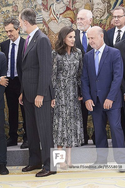 King Felipe VI of Spain  Queen Letizia of Spain attended an Audience to the Board of Directors of the European and Spanish Academy of Dermatology and Venereology at Zarzuela Palace on October 8  2019 in Madrid  Spain