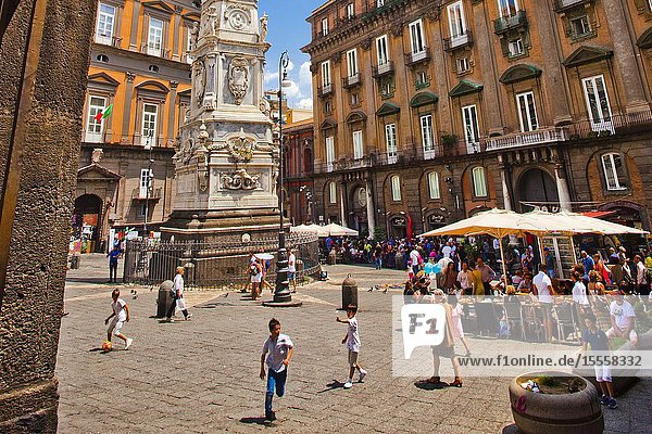 Saint Dominic square from Church of San Domenico Maggiore  Naples city  Campania  Italy  Europe.