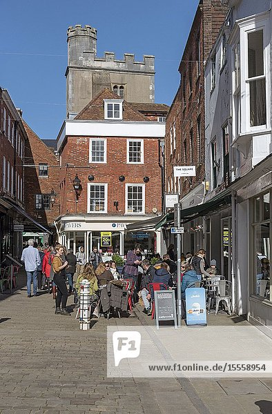 Winchester  Hampshire  England  UK. The Square a popular shopping and meeting place in the city centre of Winchester.