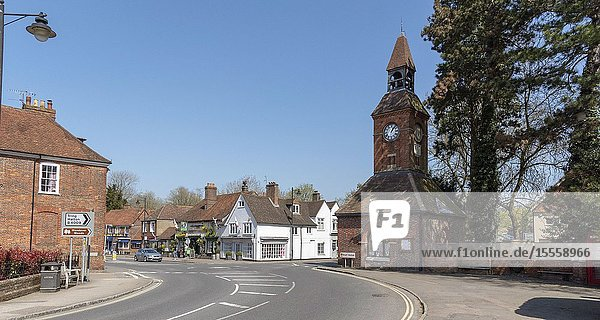 Wendover  Buckinghamshire  England  UK. April 2019. A market town in the Chiltern Hills area with a Clock Tower dating from 1842.