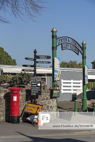 Lynton  Devon  England  UK. March 2019. The Lynton & Lynmouth cliff railway entrance gateway for the top station.