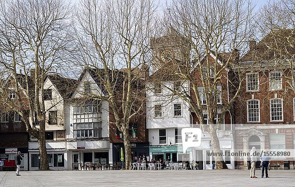 Salisbury  Wiltshire  England  UK. March 2019. City centre shops and cafes overlook the Market Square in the city centre.