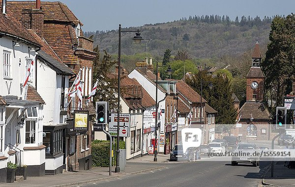 Wendover  Buckinghamshire  England  UK. April 2019. High Street  Wendover in The Chiltern Hills area. A market town with Clock Tower dating from 1842.