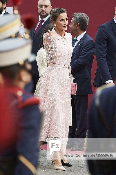 Queen Letizia of Spain attends National Day military parade on October 12  2019 in Madrid  Spain