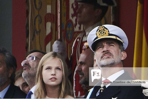 King Felipe VI of Spain  Crown Princess Leonor attends National Day military parade on October 12  2019 in Madrid  Spain