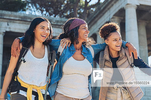Happy  carefree mother and daughters