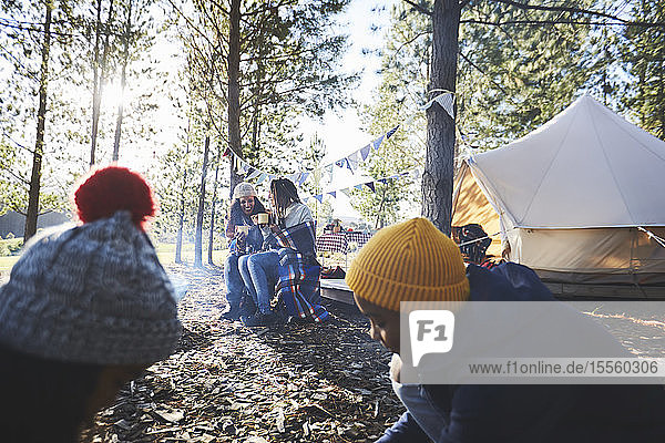 Lesbian couple and kids relaxing at sunny campsite in woods