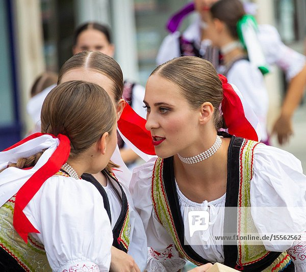Billingham  north east England  UK. 10th August 2019. Dancers from Slovakia performing at the Billingham International festival of World Dance  now in its 55th year.