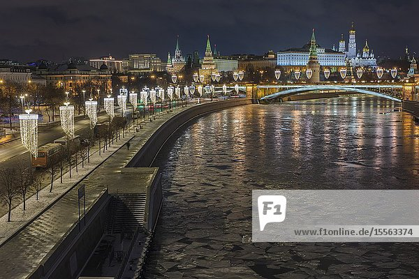 Moskow Kremlin at night  Moscow  Russia.