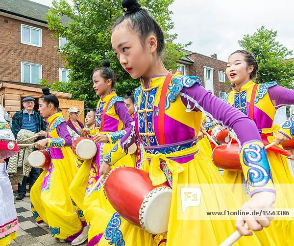 Billingham  north east England  UK. 10th August 2019. Dancers from China performing at the Billingham International festival of World Dance  now in its 55th year.