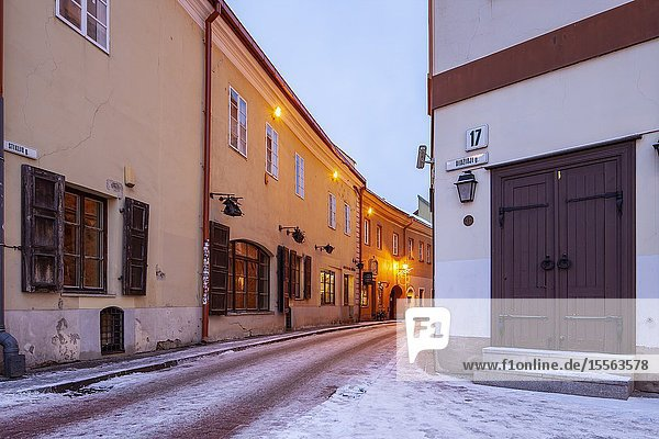 Winter dawn in Vilnius old town  Lithuania.
