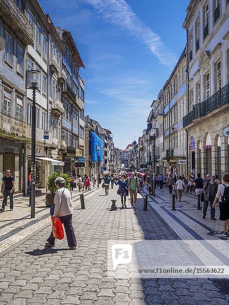 Rua de Santa Catarina  pedestrainised shopping street  Porto  Portugal  Europe.