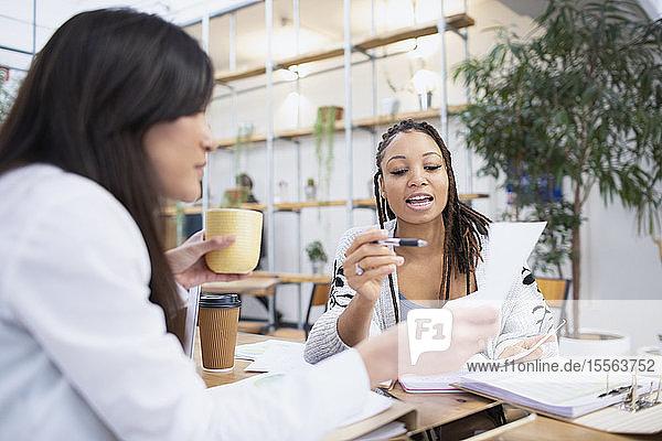 Businesswomen discussing paperwork in office
